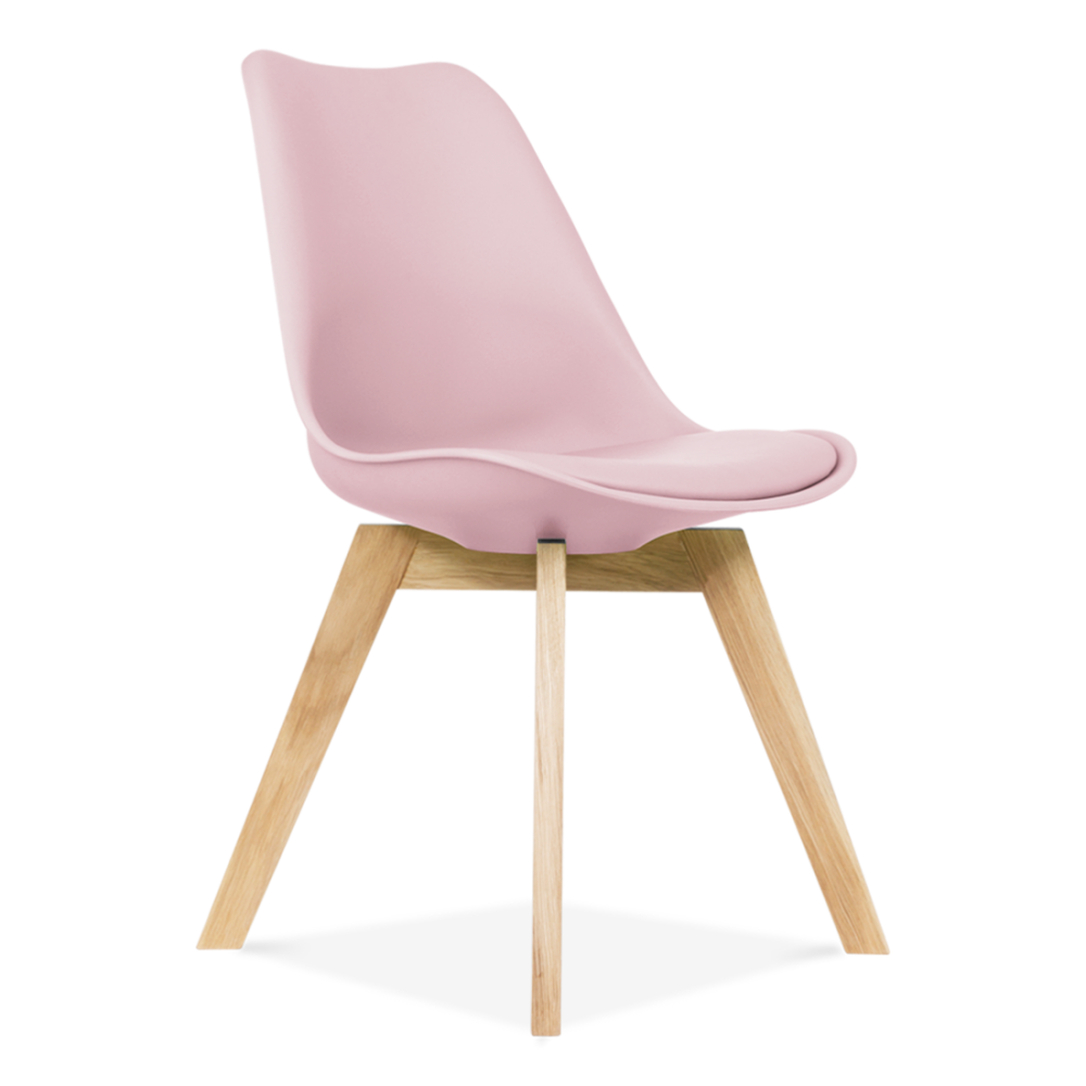 Eames Inspired Candy Floss Pink Dining Chairs With Solid Oak Crossed Wood  Leg Base