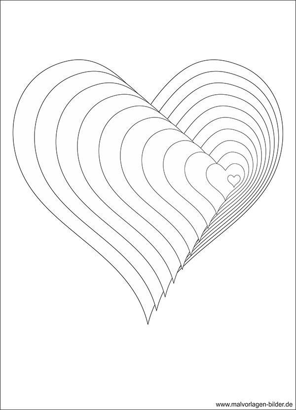 3D Malvorlage mit Herzen | zeichnen | Pinterest | Ausmalbilder ...