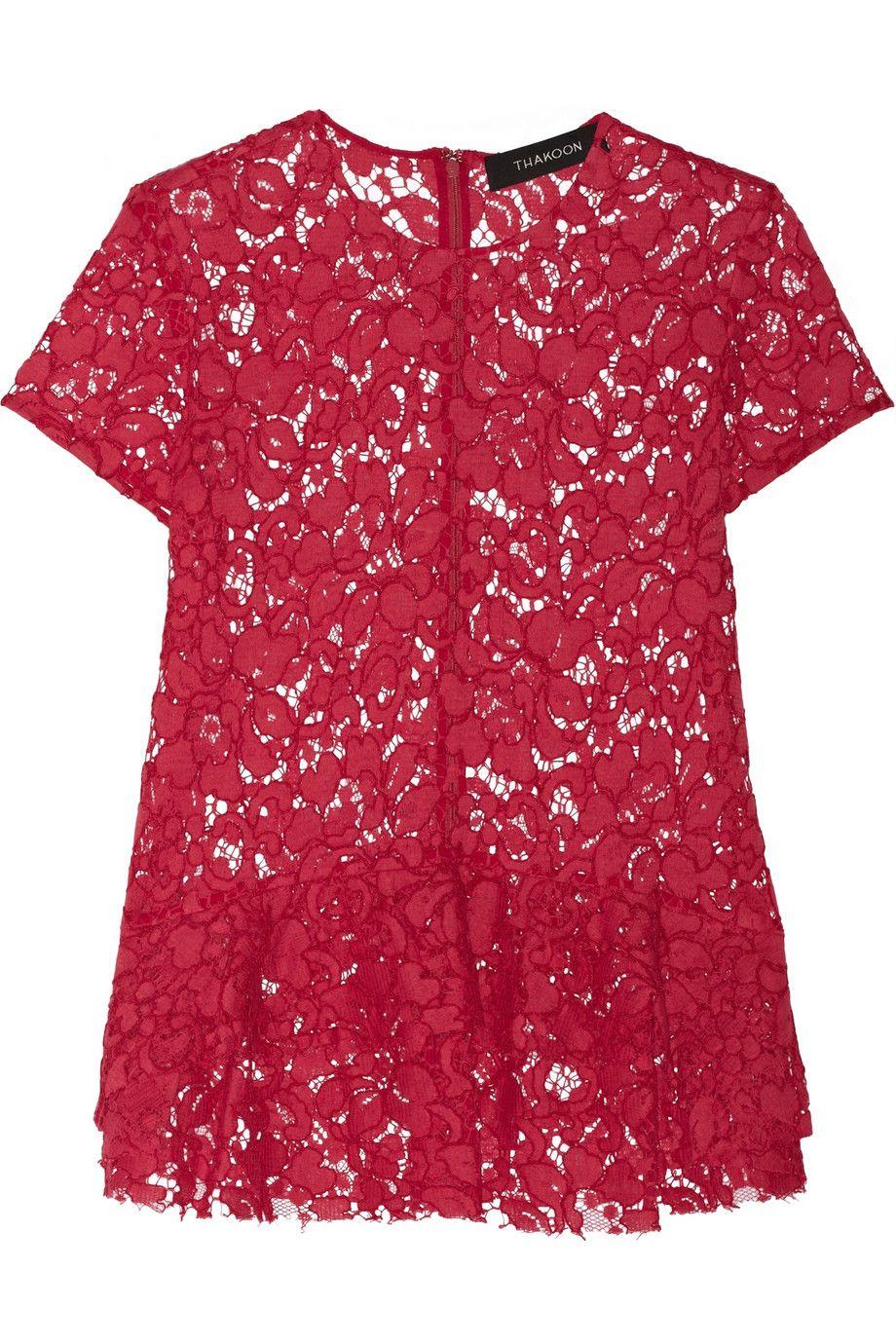 Thakoon|Embroidered cotton-blend lace peplum top|NET-A-PORTER.COM