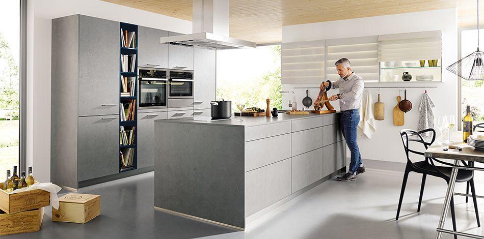 Schüller Möbelwerk KG - elba K024 Beton dunkelgrau Nachbildung - schüller küchen erfahrungen
