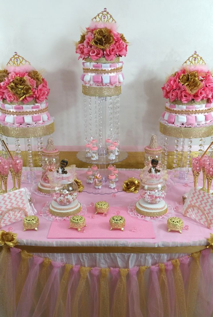 Pink And Gold Princess Candy Buffet Diaper Cake Centerpiece