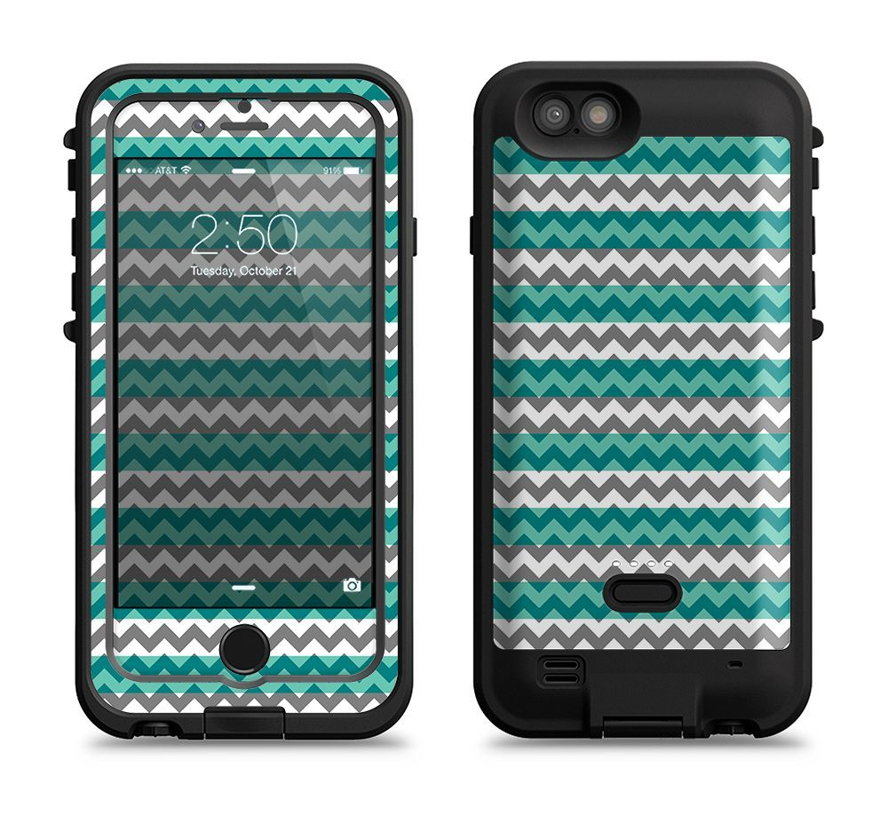 The Vintage Green & White Chevron Pattern V4 Apple iPhone 6/6s LifeProof Fre POWER Case Skin Set