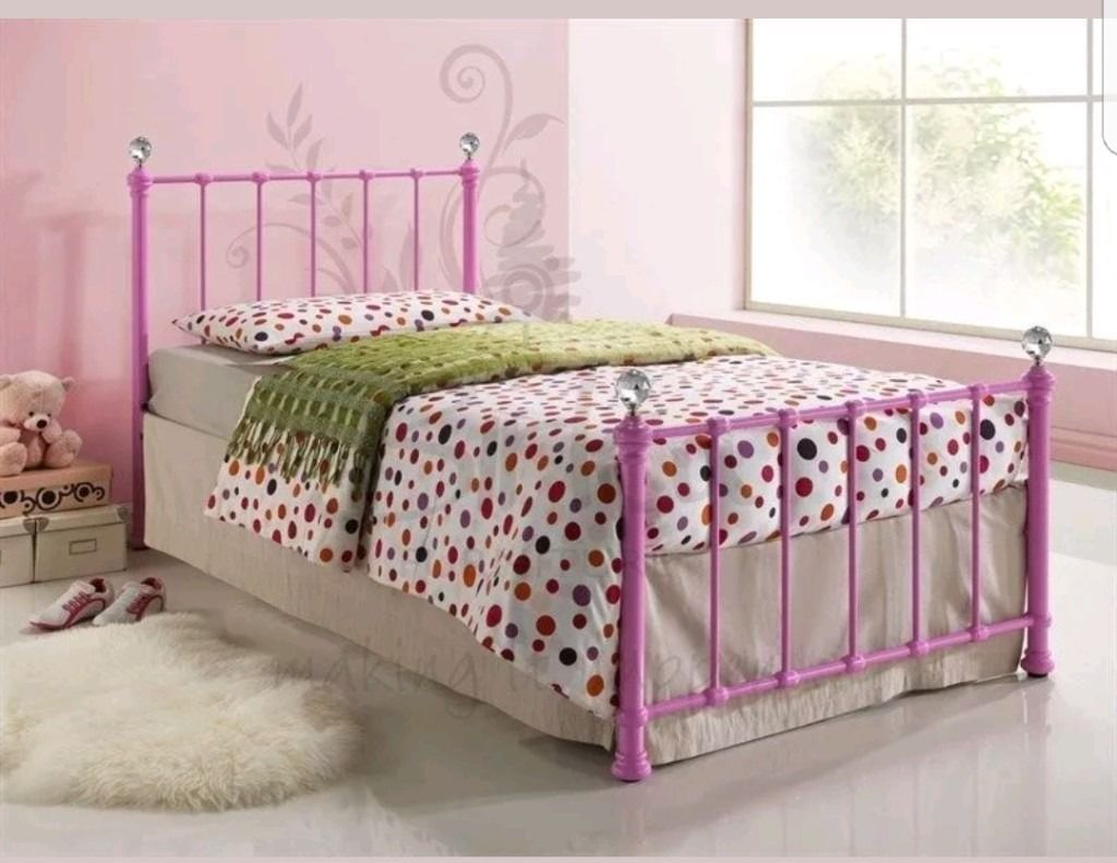 Girls Single Hot Pink With Diamonds Metal Bed Next White Curtain