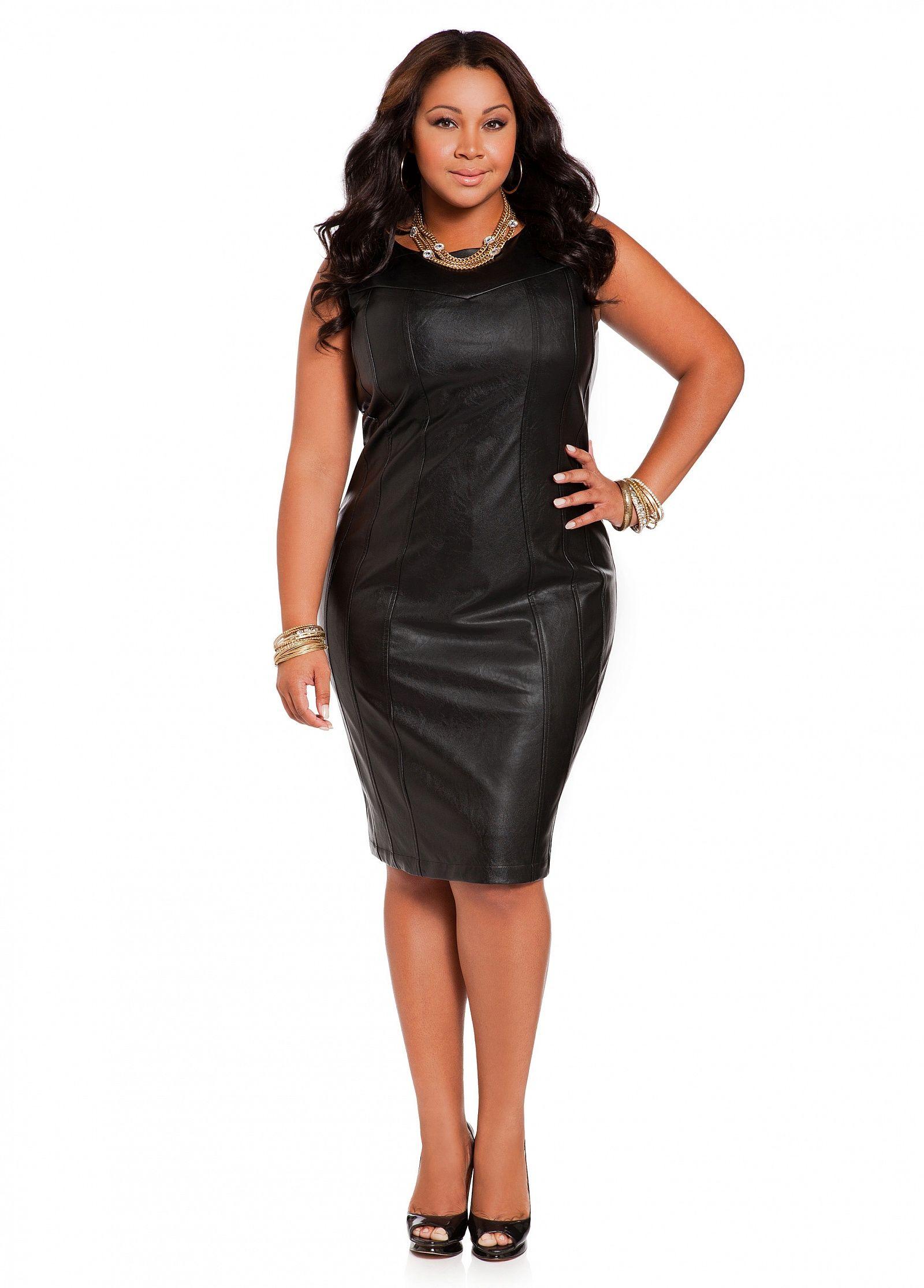a23430fa60106 Ashley Stewart  Faux Leather Seamed Sheath Dress