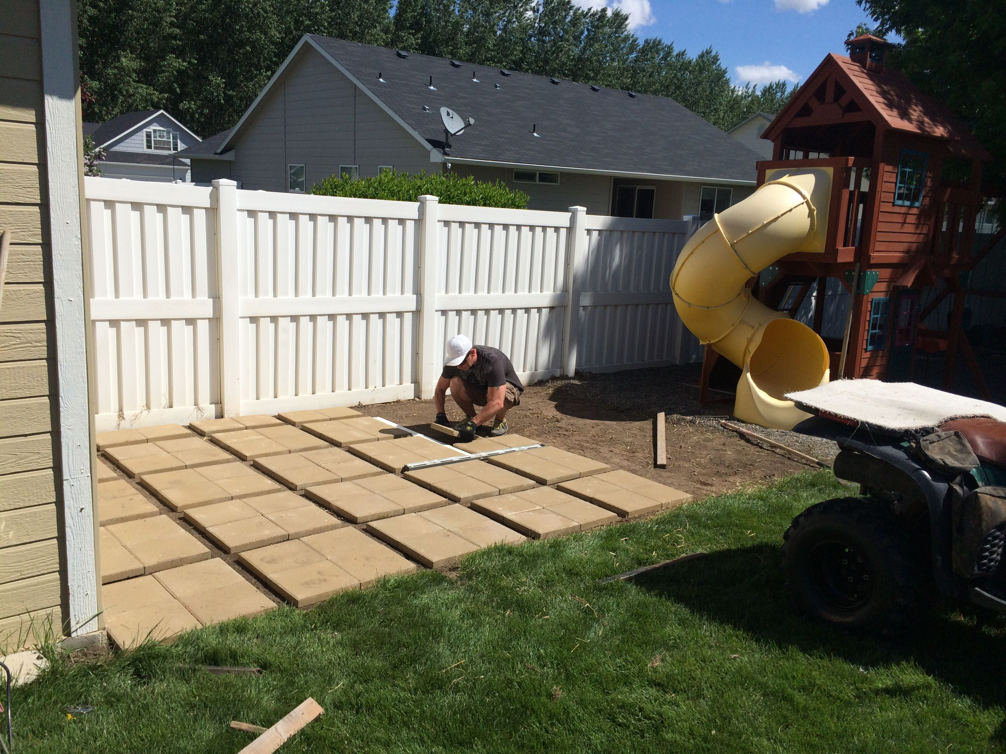 Build Your Own Patio! Pavers In Sets Of Far Less Expensive Than Pavers.  Just Evenly Spaced And Set With Pea Gravel! This Was An Inexpensive And  Temporary ...