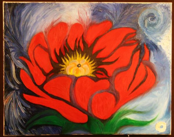 This flower painting is a reference to Georgia O Keeffe while the