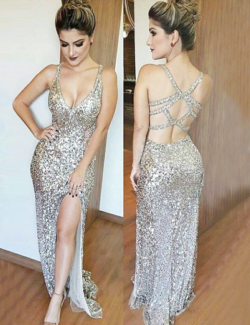 Sheath Deep V-Neck Open Back Silver Sequined Prom Dress with Split ...