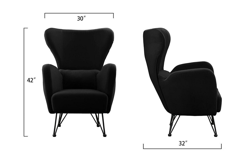 modern black velvet accent chair