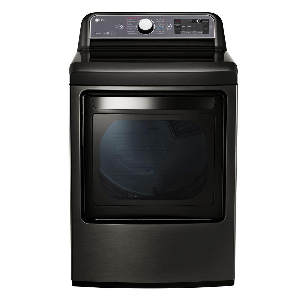 Lg Electronics 7 3 Cu Ft Electric Dryer With Turbo Steam In Black Stainless Black Stainless Steel Gas Dryer Black Stainless Steel Dryer