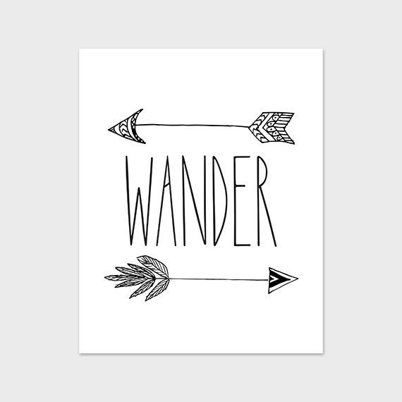 8x10 wander art print arrow printable art black and white art print indie wanderlust 8x10 printable instant download digital file