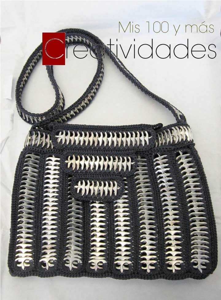 Mis 100 y más creatividades: tutorial para hacer bolsa tejida con anillas de aluminio