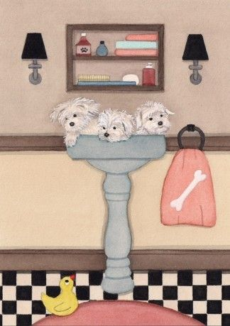 Maltese fill a sink at bath time / Lynch signed by watercolorqueen, $12.99
