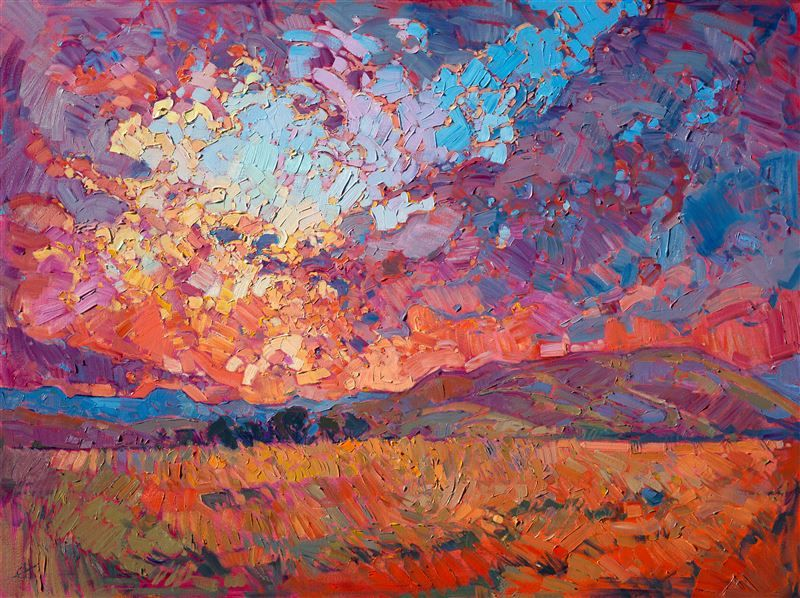 Vivid colorful contemporary impressionism oil painting in a