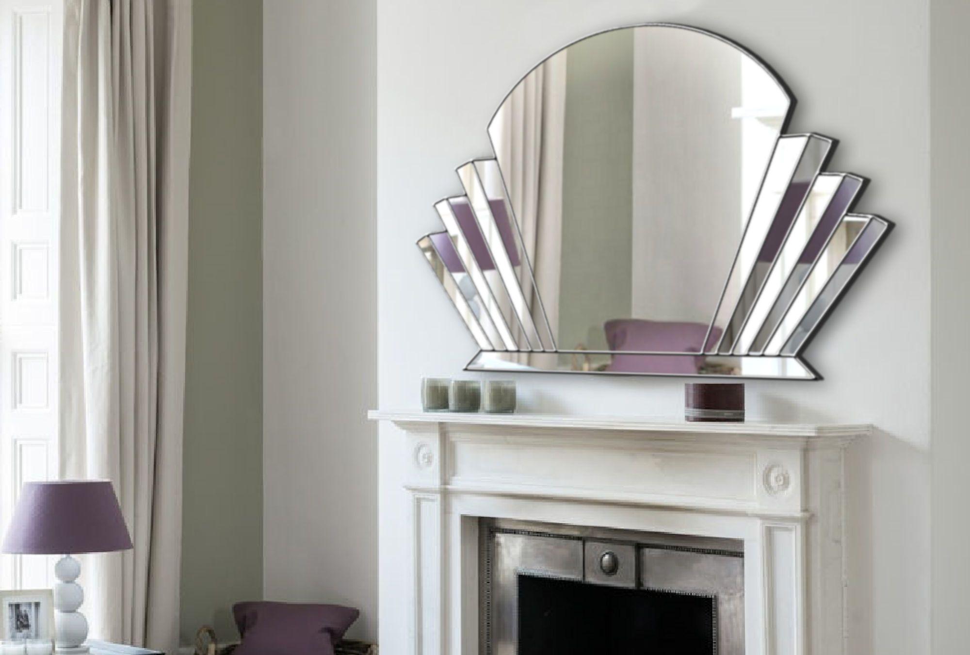 Venus Art Deco Over Mantle Wall Mirror In Silver Art Deco Mirror Art Deco Wall Mirror Mirror Wall