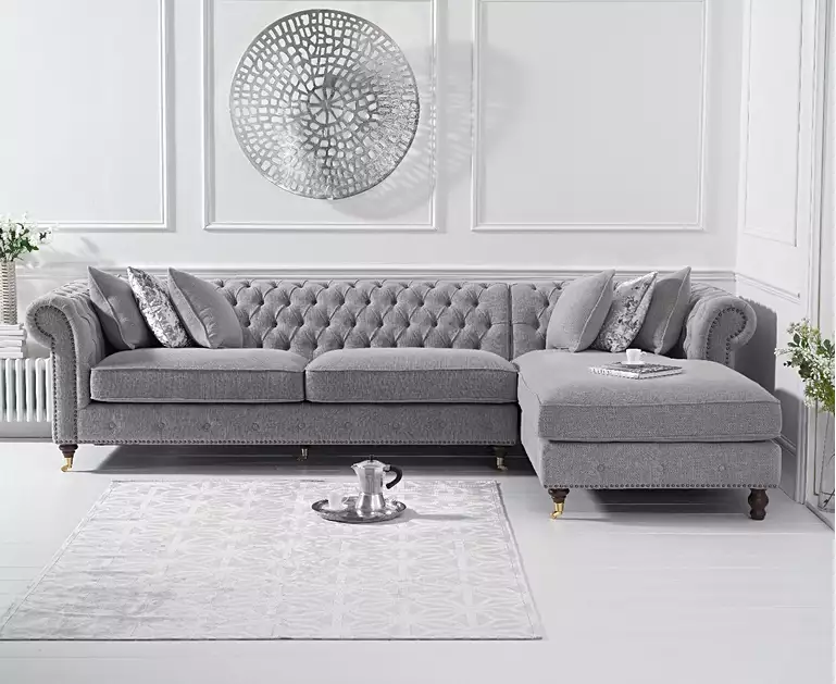 Flora Grey Linen Right Facing Chesterfield Chaise Sofa Living Room Sofa Design Chesterfield Sofa Living Room Grey Sofa Living Room