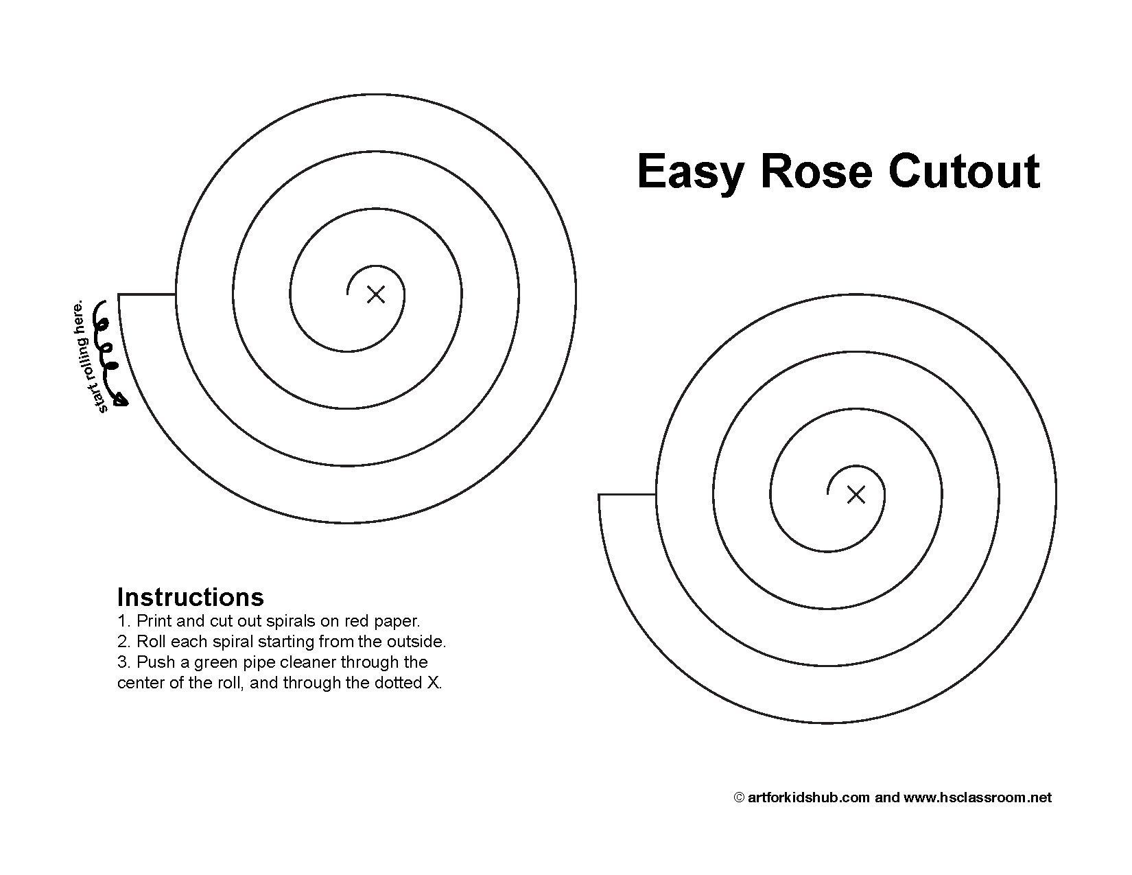 Super easy valentine 39 s paper rose cutout free pattern for Rolled paper roses template