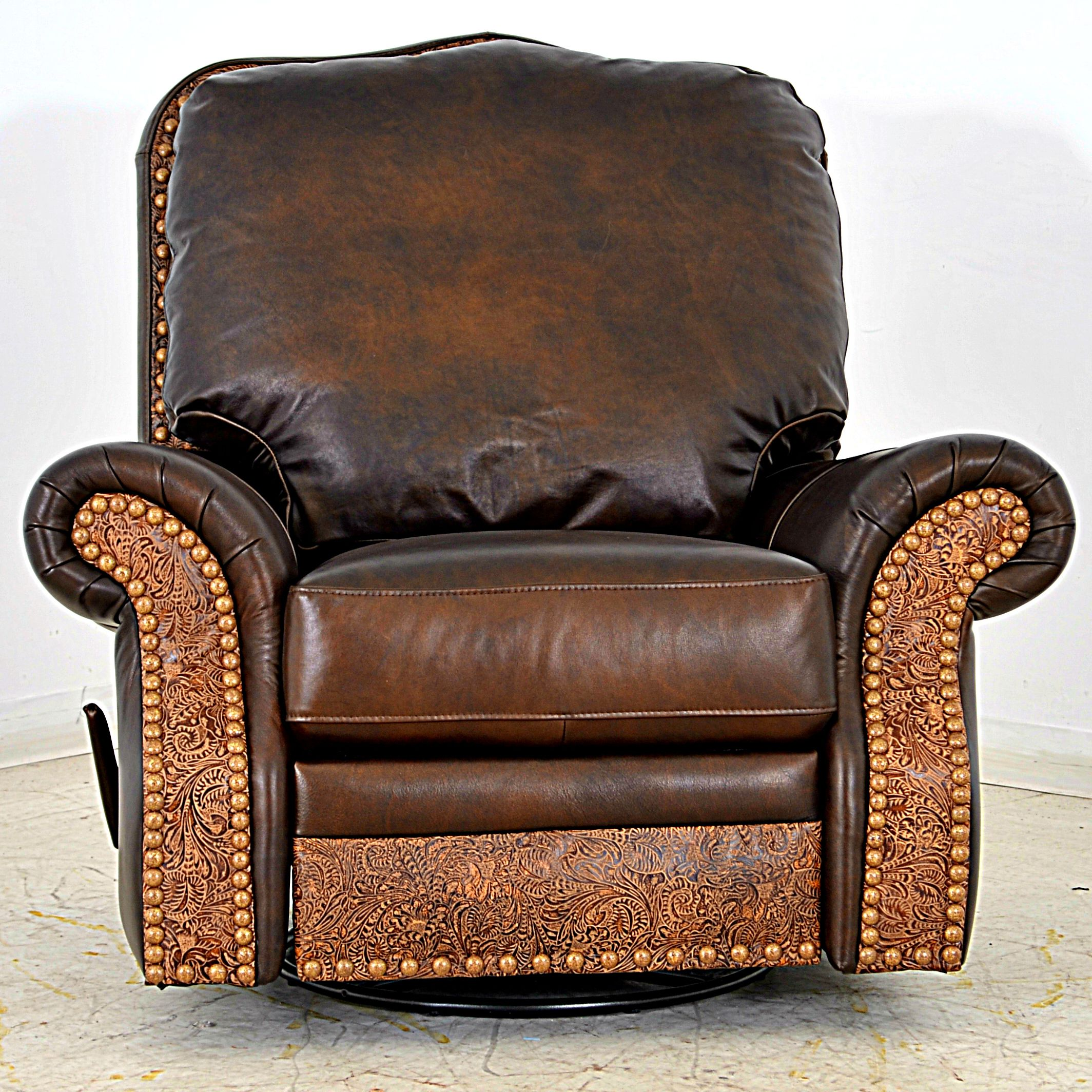Leather swivel rocker recliner, made in USA. Customize one