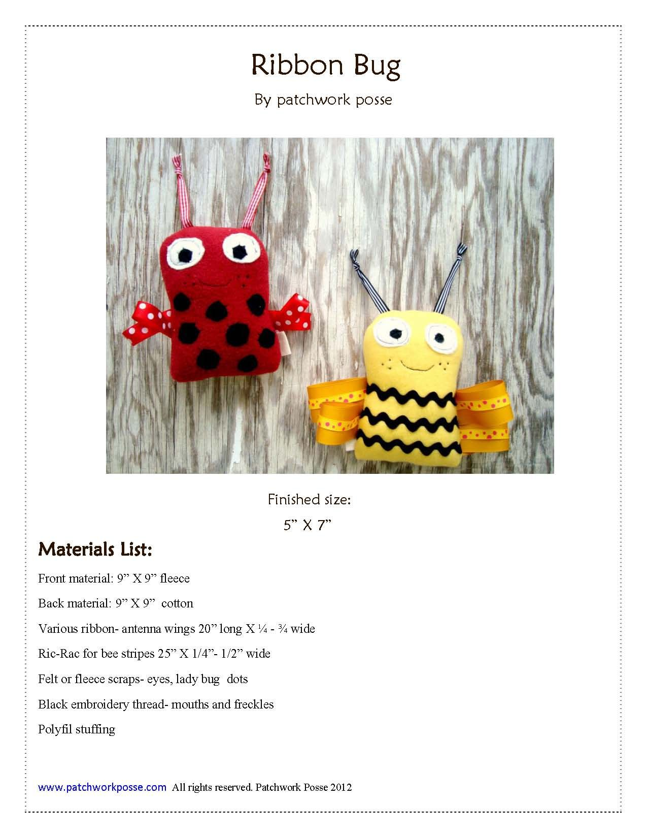 Ribbon bugs stuffie free pattern free pattern patterns and