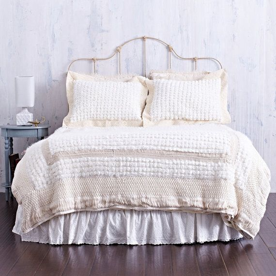 BOHEMIAN TWIN BEDDING   Bed Cover Created with Gorgeous Rosettes   Creamy  Macrame Trimmed Comforter Cover. TWIN BEDDING SET   Two Sets Available   Bohemian Macrame Rosette