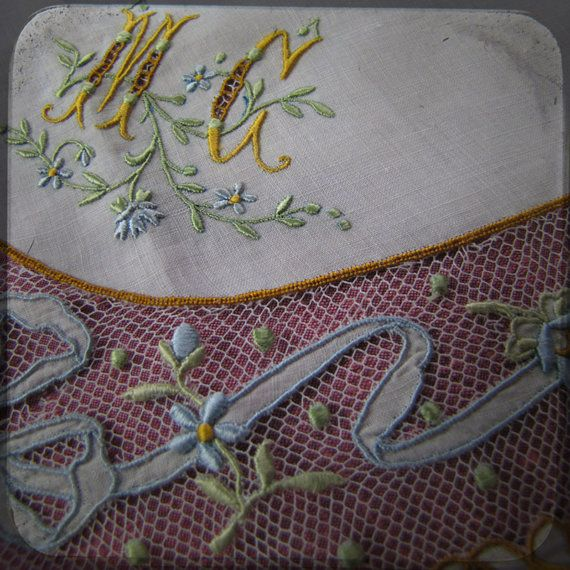 Stunning Antique Wedding Bridal french Square Handkerchief embroidered on net - Vintage Whitework Souvenir from France - museum quality