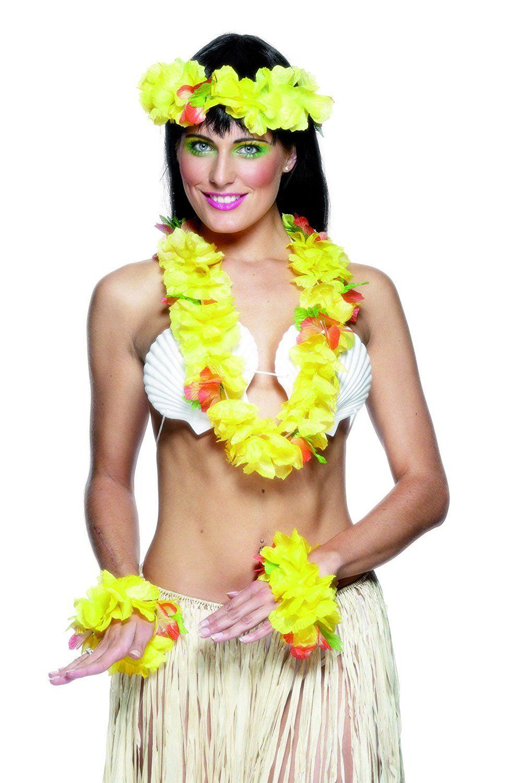 Hawaii Hula Kostümzubehör Set 3 Teilig Gelb Kostüm Frau Mann