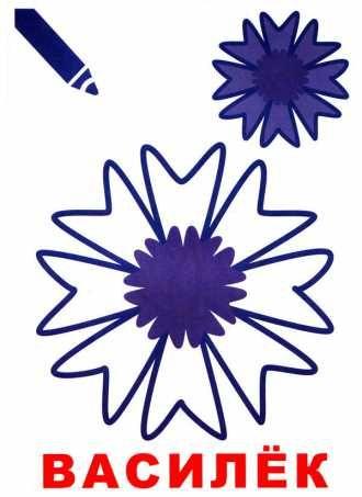 Василёк - раскраска цветы для малышей,распечатать ...