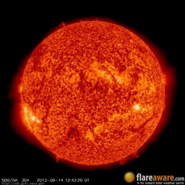 The hourly sun (at 12:43 pm  UTC on 14 June 2013)