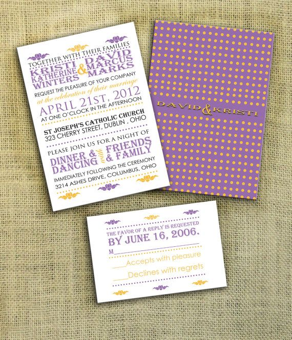 Purple Wedding Invitation And Response Card DIY By InvitedInc 2995