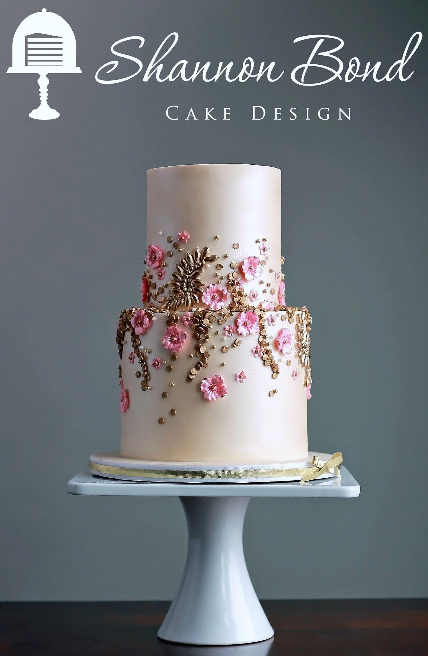 Gold and pink cake wedding cakes pink wedding cake