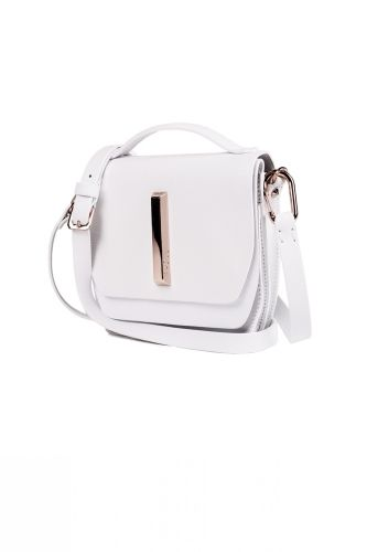 Mini Saffiano Blake From Raoul Cross Body Bag With Long Strap And Top Handle In White
