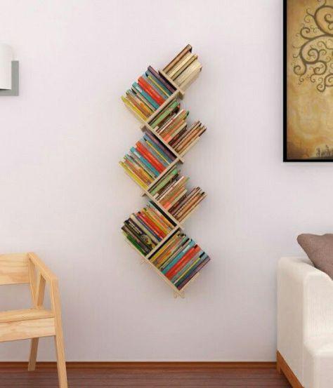 Vertical Zig Zag Shelf For Books Looks Like They Re About To Fall Off Bookshelves Diy Bookshelves In Bedroom Bookshelf Decor