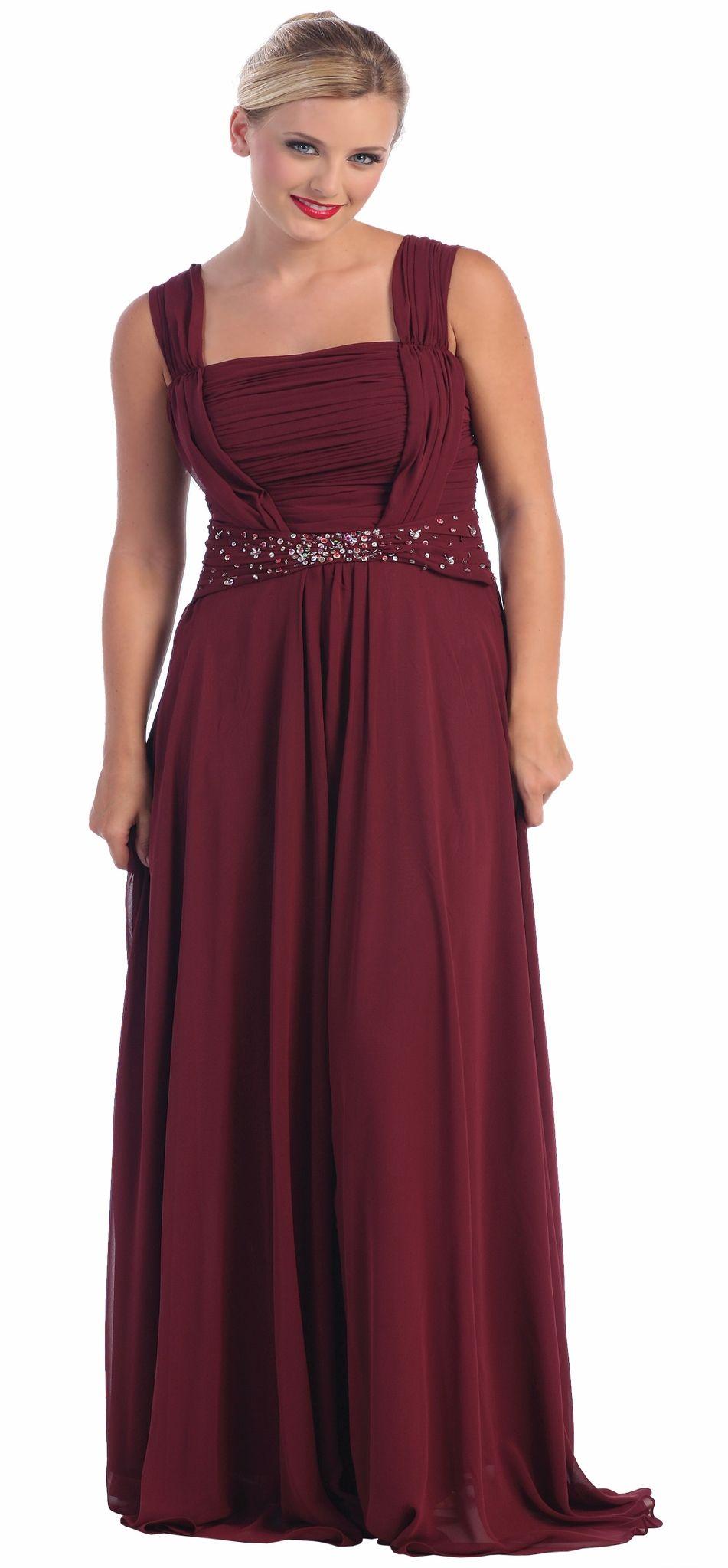 Burgundy Formal Dress Plus Size Chiffon Wide Straps Sequin Dress $177.99
