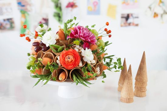Thanksgiving Waffle Cone And Veggie Centerpiece Thanksgiving Decorations Thanksgiving Tabletop Decor Thanksgiving Centerpieces