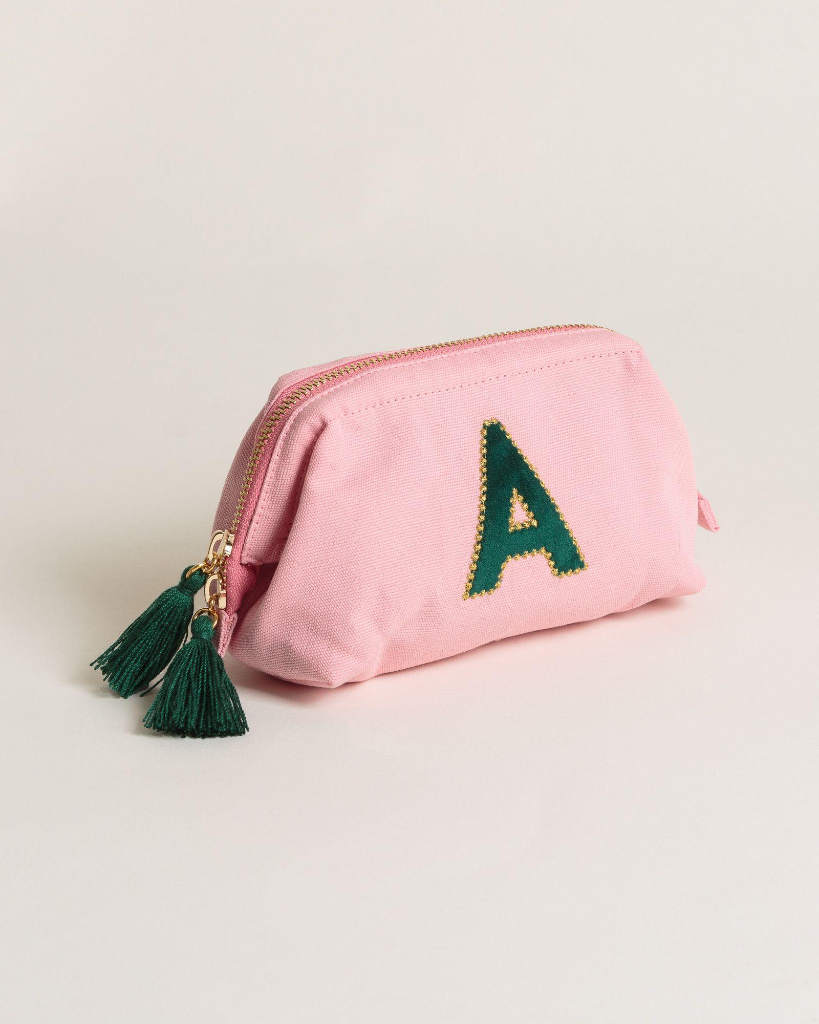 Alphabet Velvet Initial Pink Makeup Bag in 2020 Pink