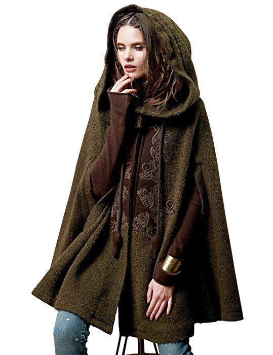 Artka - Abrigo estilo capa hecho de lana con bordados delicados y cuello  doblado para mujer verde verde talla única  Amazon.es  Ropa y accesorios ce1aa20e678b