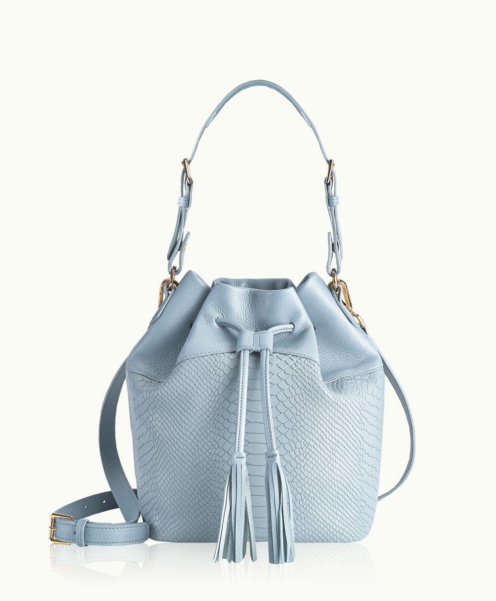 GiGi New York   Harbor Blue Jenn Bucket Bag   Embossed Python Leather   Spring 2015