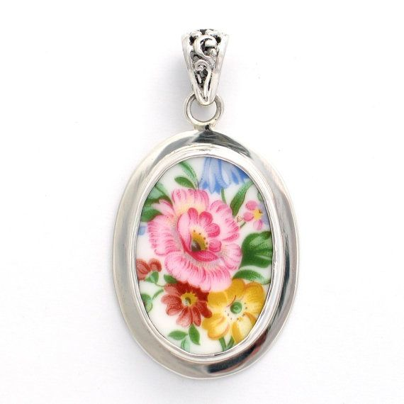 Broken China Jewelry Royal Albert Lady Carlyle Blue /& Yellow Flower Sterling Tall Oval Pendant