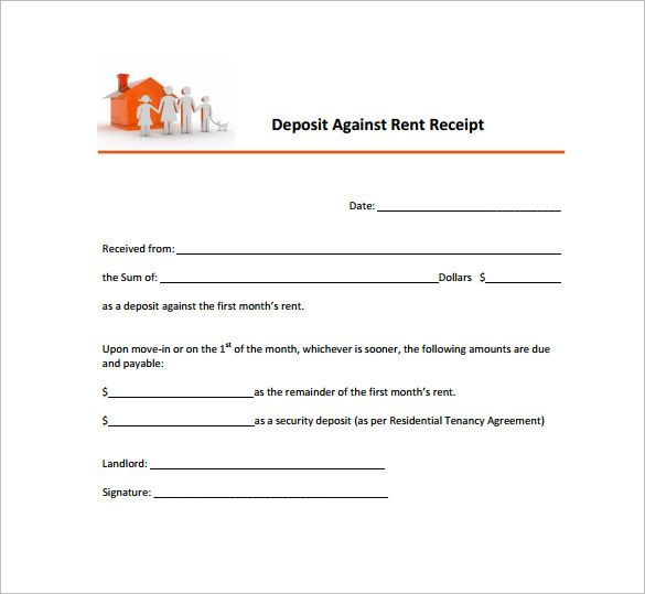 Deposit receipt against rent, free printable receipts Receipt - download rent receipt format