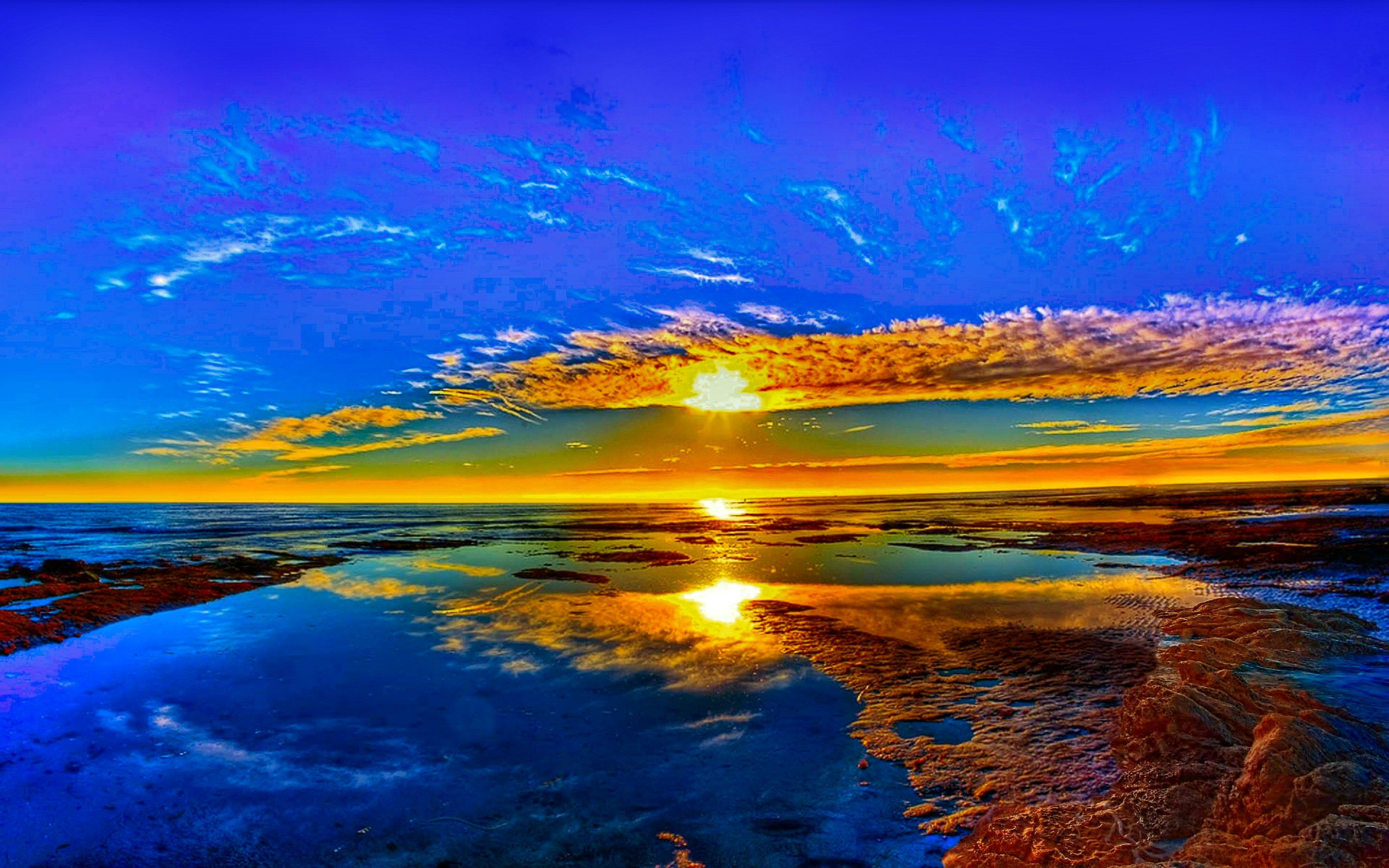 Terra/Natureza Sunset  Opus Horizon Reflection Blue Yellow Beach Scenic Nature Papel de Parede