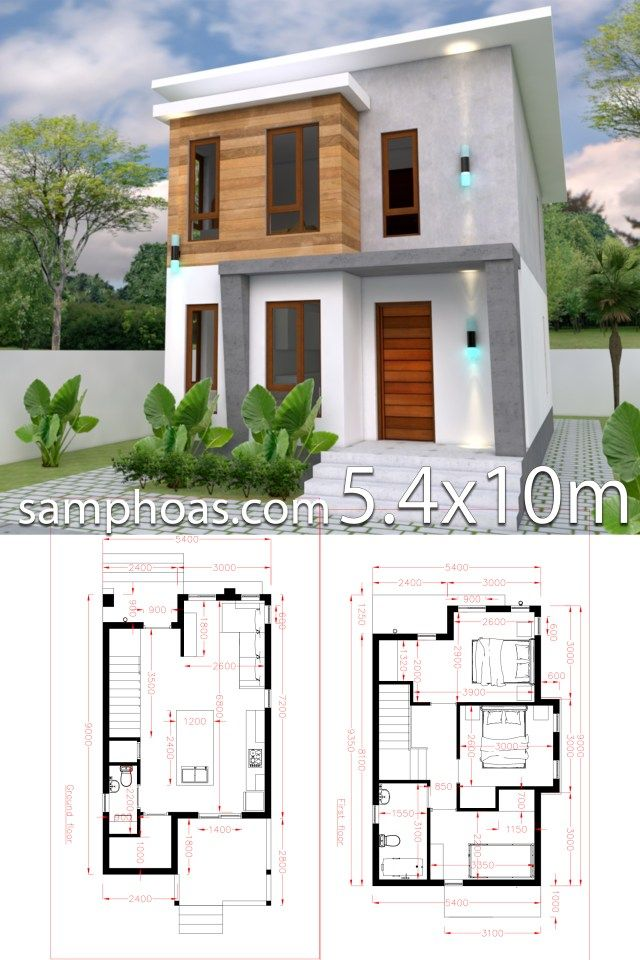 Small Home Design Plan 5 4x10m With 3 Bedroom Samphoas Plansearch Minimal House Design Small House Design Simple House Design