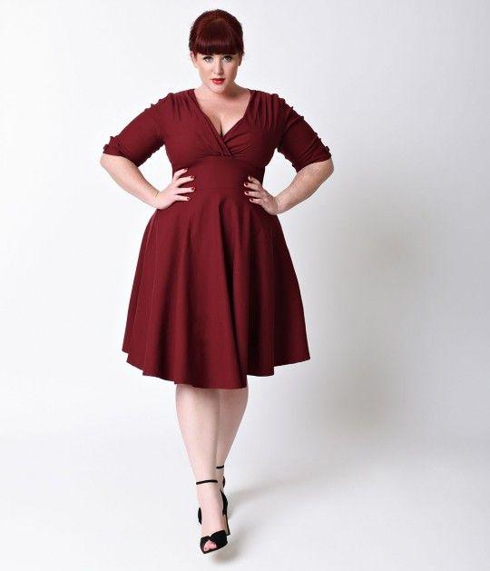 Unique Vintage Plus Size 1950s Style Burgundy Red Delores Swing ...