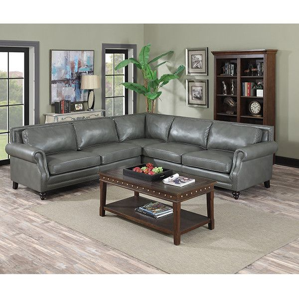 Roselle Grey Leather Sectional   The Furniture Lady