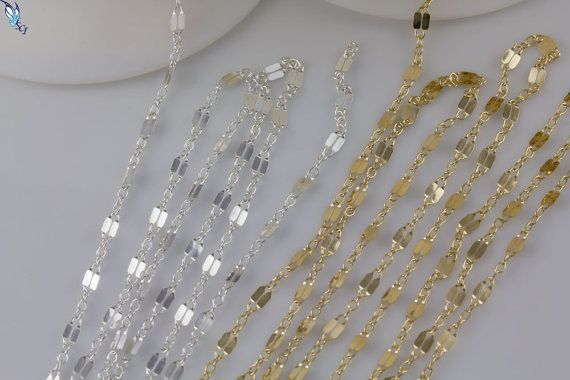3f1ffa1d2 5, 10, 25, 50 or 100 feet Ideal for Choker Necklace, Double Bar Link  Chain,Sterling Silver,Gold Fill