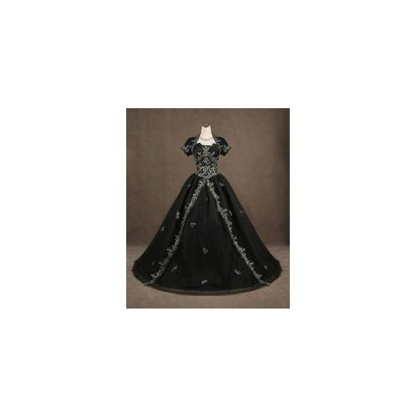 Gothic Victorian Pure Black Luxuriant Lolita Dress ❤ liked on Polyvore featuring dresses, gothic victorian dress, victorian day dress, black dress, gothic clothing dresses und black goth dress