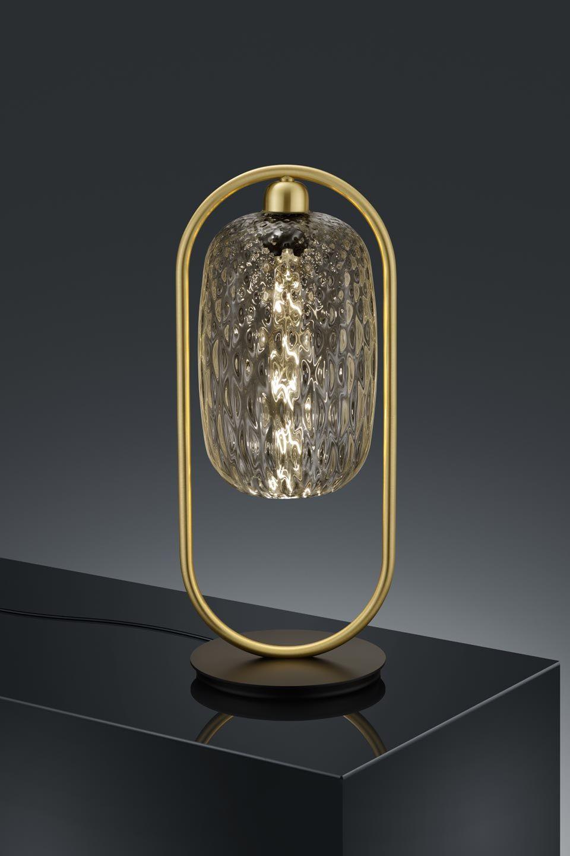Lampe De Table Design Dore Et Verre Transparent Baulmann Leuchten Luminaire De Prestige Fabrique En Allemagne Ref 19030126 Golden Table Lamps Table Lamp Lamp