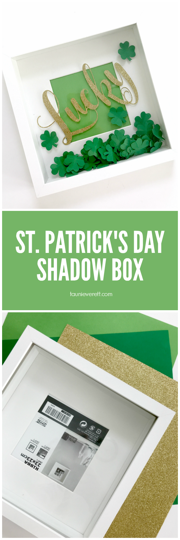 Make this inexpensive St. Patrick's Day Shadow Box in less than 15 min! #stpatricksday #fourleafclover
