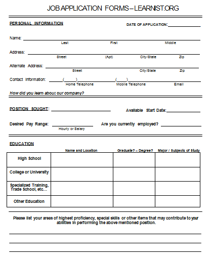 Sample Job Application To Print  Printable Job Applications