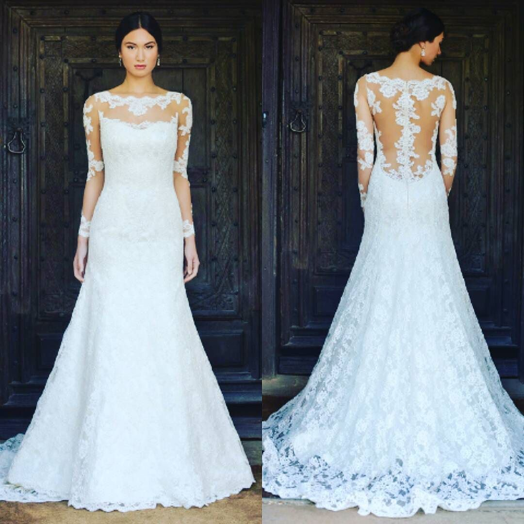 This is the Jo gown by @augustajonesbridal  For the month #april this #wedding #gown is one #sale as part of our #spring sample sale. #bride #bridal #weddingdress #lace by mimisbridalboutique