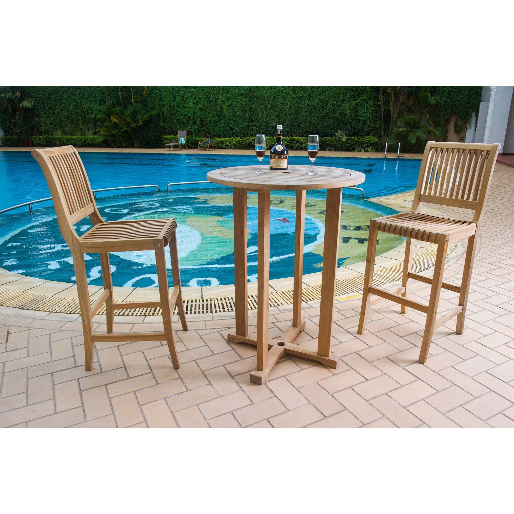HiTeak Furniture Palm Piece BarHeight Outdoor Bistro Set HLSPB - Teak bar height outdoor table