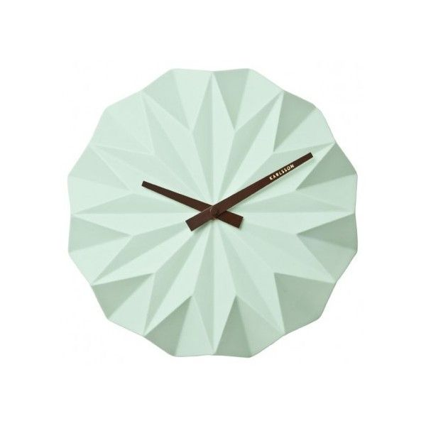 Karlsson Origami Wall Clock Mint Green 49 Liked On Polyvore Featuring Home Home Decor Clocks Ceramic Home Decor Cer Wall Clock Wall Clock Design Clock